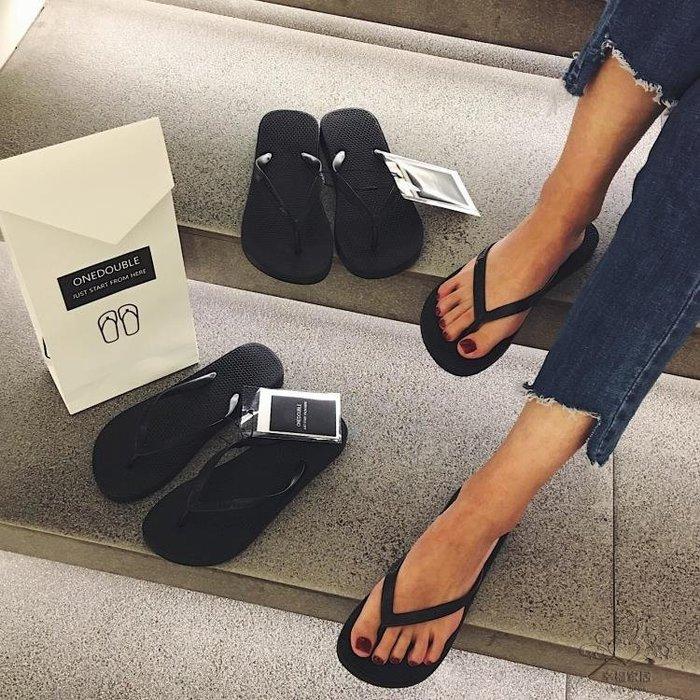 室內拖鞋 黑色人字拖女休閒涼拖鞋女夏夾腳防滑平底跟沙灘鞋