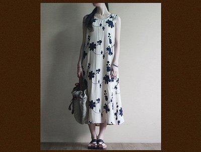 (老銀屋)夏日無袖刺繡優雅連衣裙...