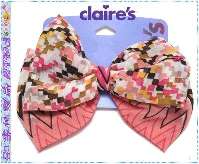 ☆POLLY媽☆歐美claires粉色系馬賽克紋鋸齒紋紗質雙層大蝴蝶結(9×12.5cm)小壓夾