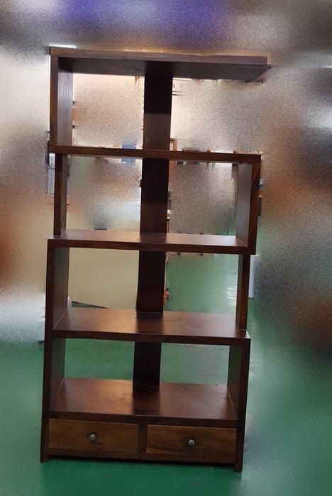 二手家具樂居 台中全新中古傢俱買賣 HMAP100AJA*全新亞科斯桃花心木二抽格子櫃 書櫃 酒櫃*原木家具 柚木 樟木