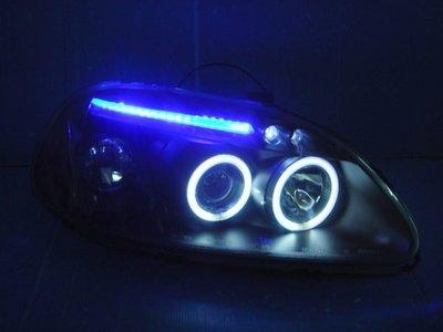 小亞車燈╠ 外銷版喜美K8-96年99年黑框CCFL光圈+LED燈眉魚眼大燈