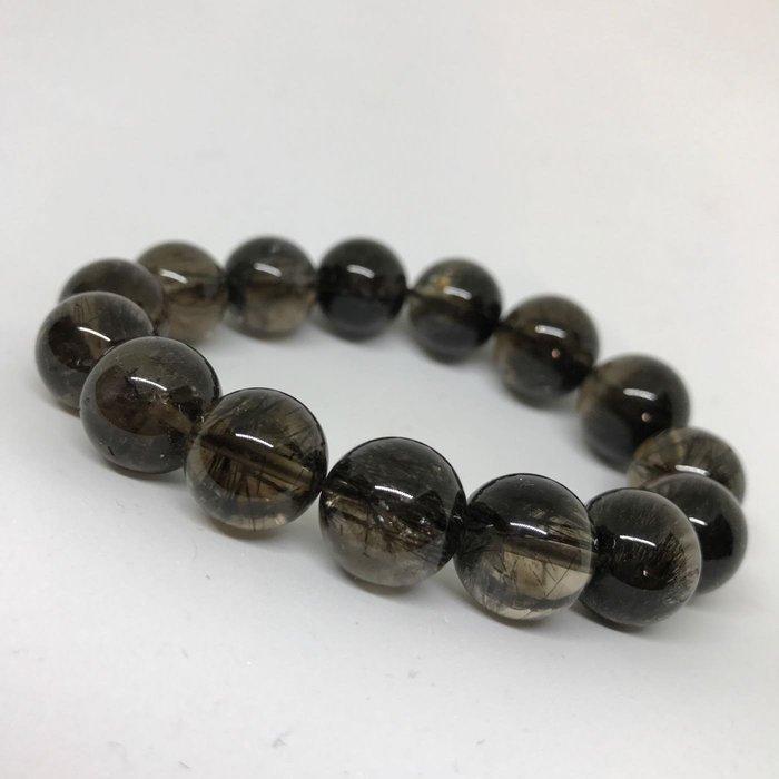 黑髮晶手珠 黑碧璽手珠 稀有茶晶體 多絲清透料 56.3g 14mm