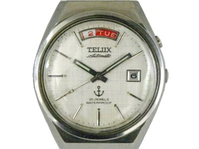 [專業模型] 機械錶 [TELUX 7830] 鐵力士 圓型[21石]自動錶[銀色面+星+日期]中性錶/軍錶