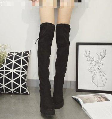 [ ohya梨花 ] =韓國帶回=最新秋冬新款性感名媛性感穿搭黑色粗跟超高跟絨面經典長筒靴過膝長靴