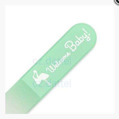 【捷克美甲刀--寶寶系列--粉綠 welcome baby】水晶玻璃指甲銼刀  兒童指甲刀 寶寶水晶銼刀 捷克原廠