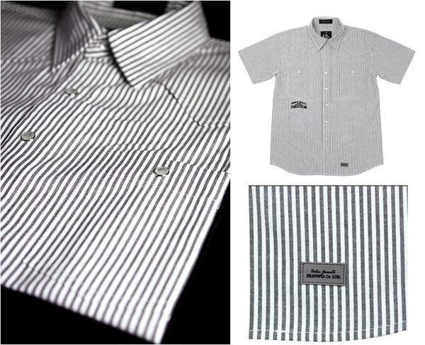 { POISON } SKATOPIA HOLIDAY STRIPES SHIRT 日本進口獨創字體內勘珍珠釦直紋布襯衫