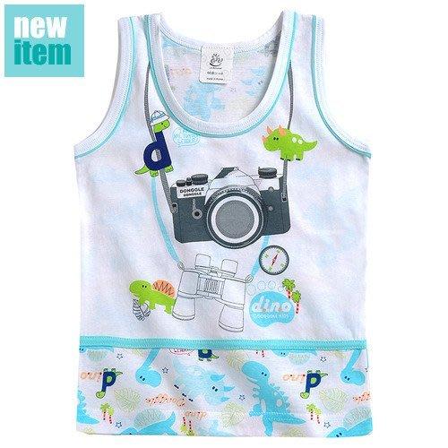 BHH043-韓國進口Donggle-Donggle品牌 小恐龍與照相機男孩背心 寶寶幼兒童100%純棉【現貨】
