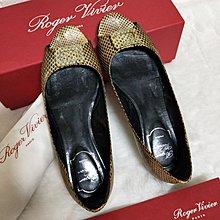 正品Roger Vivier RV 蛇紋魚口娃娃平底鞋