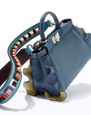 Fendi leather shoulder strap 豆豆背帶 藍