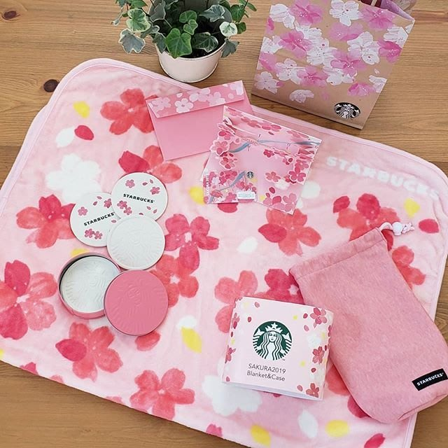 Ariels Wish日本STARBUCKS星巴克2019櫻花季粉紅色超限量小毛毯冷氣毯小棉被附收納袋組-最後斷貨絕版品