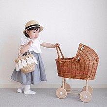 〖洋碼頭〗北歐風復古藤編寶寶學步玩具手推車過家家兒童房裝飾拍照道具 mlb351