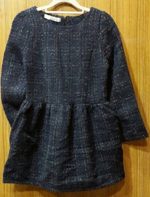 【Alice秘密衣櫥】歐美冬裝 深藍毛呢長版上衣/洋裝/連身裙(現貨)