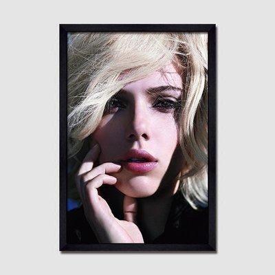 X|設|計 史嘉蕾喬韓森Scarlett Johansson美女人物海報掛畫好萊塢電影明星黑白裝飾畫有框畫黑寡婦漫威掛畫