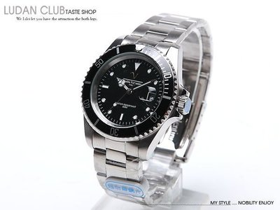 【全館折扣】 水鬼錶 黑色 Emilio Valentino 范倫鐵諾 防水 耐刮 不過敏 v6602b 黑水鬼 手錶