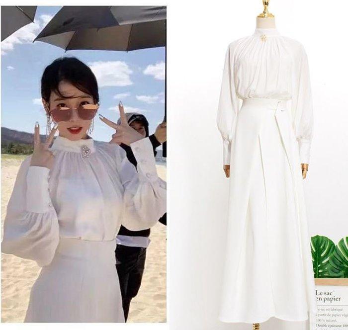 預購-韓劇同款德魯納酒店IU同款李知恩同款時尚氣質秋套裝立領長袖襯衫女下標區