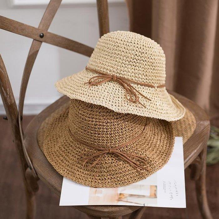 (低價衝量)日系草帽遮陽帽子女夏季可折疊盆帽漁夫帽海邊出游沙灘帽