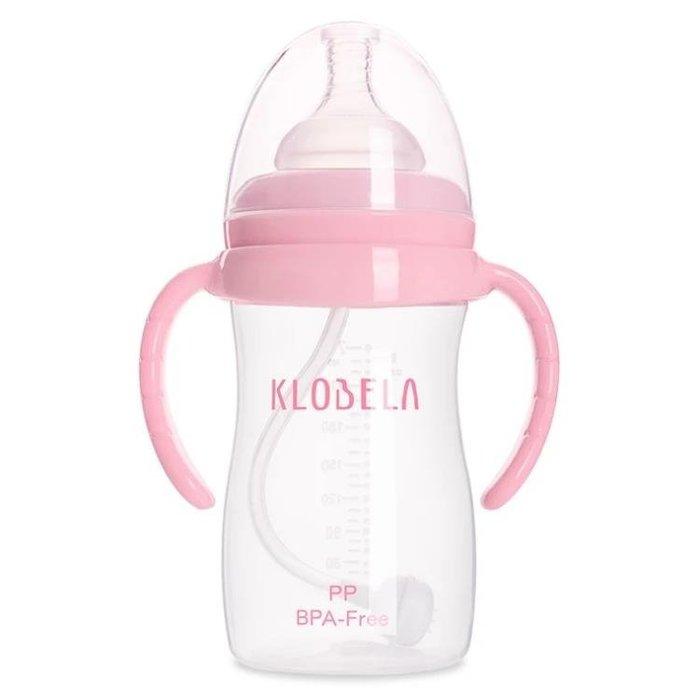 新生兒寬口徑pp塑料奶瓶寶寶帶手柄帶吸管嬰兒防摔防脹氣嬰兒奶瓶