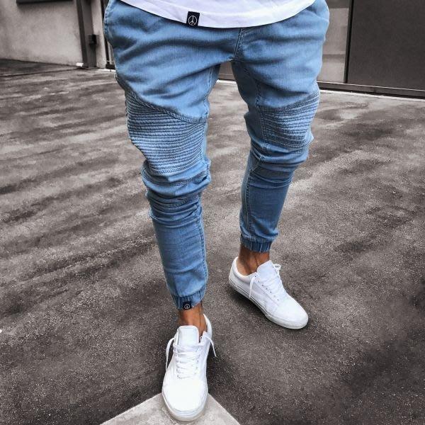『潮范』 N8 外貿男士時尚褶皺窄管韓版牛仔褲 小腳褲 休閒長褲 牛仔長褲NRG1015