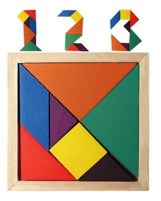 【晴晴百寶盒】木製七巧板 七彩認知啟蒙 智力開發 益智遊戲 教育玩具 生日禮物 送禮禮品 CP值高 平價促銷 A135