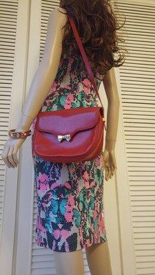 【Nina Ricci 】經典金色蝴蝶結紅色真皮肩背包 掀蓋側背包