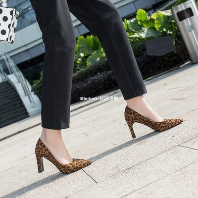 litterluck-韓國專櫃淺口粗跟單鞋女中跟2019新款秋冬季正韓尖頭高跟鞋職業工作鞋大碼