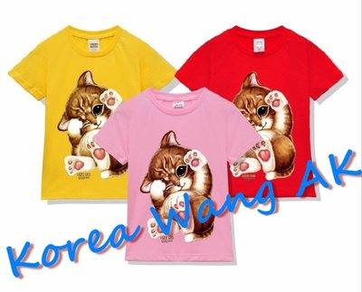 Korea Wang AK ~(預購)台灣原創獨家設計 美國純棉 限定版 撒嬌萌趣喵兒童青少年版T 六款【P046】