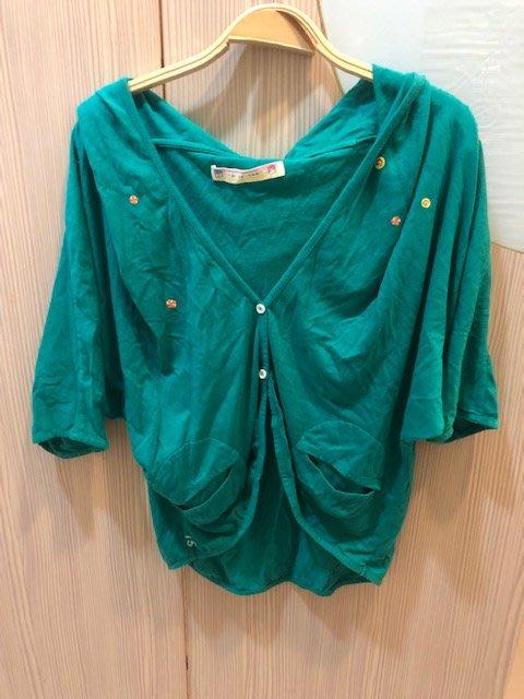 小花別針、專櫃【a la sha】可愛藍綠連帽小外套