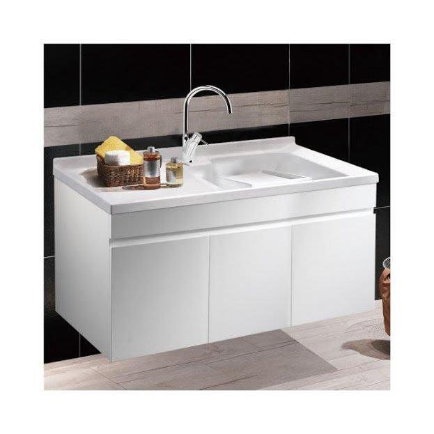 《101衛浴精品》台灣製造 100%全防水 120cm 單槽 人造石洗衣槽 白色鋼琴烤漆 浴櫃組 LC-120【免運費】