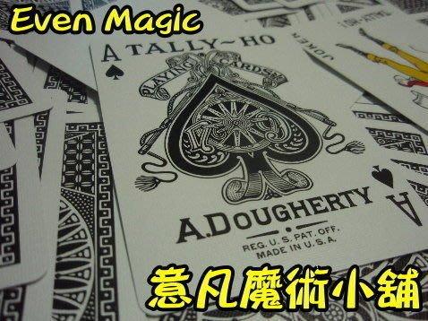 【意凡魔術小舖】黑色扇背 Tally-Ho 撲克牌(黑色圓背)