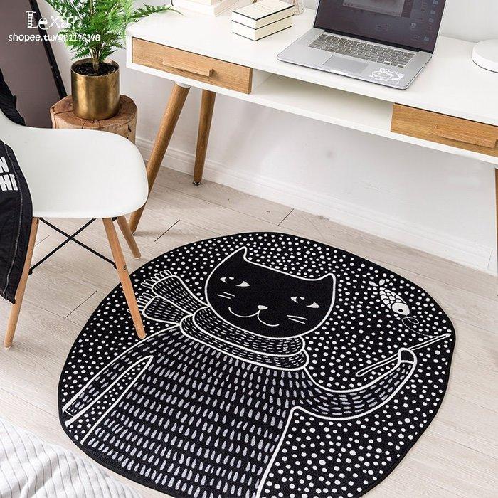 卡通喵星人黑白兒童房地毯臥室床邊地墊可愛多功能異形客廳腳墊