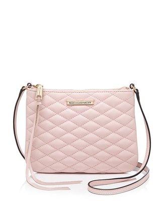 美國名牌Rebecca Minkoff Crossbody專櫃款粉色菱格皮質斜背包現貨在美特價$3280含郵