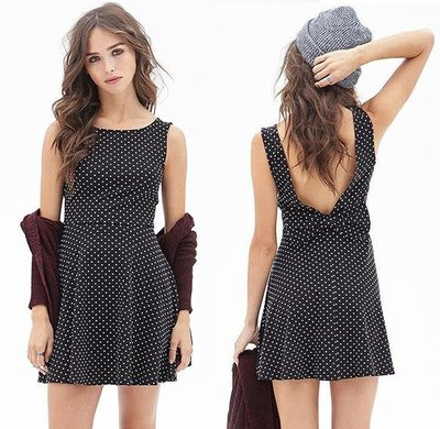 Stylish Women Polka Dot Sleeveless Bow Backless Dress cute