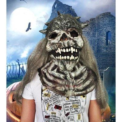 ~銀發鐵頭恐怖骷髏頭鬼臉怪獸面具萬圣節假面舞會演出道具嚇人搞怪