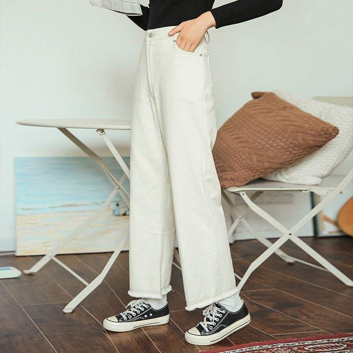 SeyeS 自然風個性簡約基本款休閒米色直筒牛仔褲