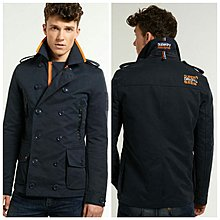 Superdry Maritime Pea Coat Dull Navy