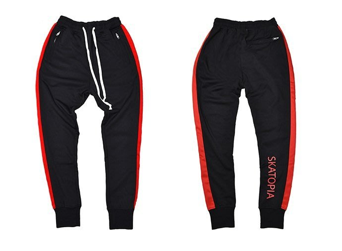 { POISON } SKATOPIA SIDE STRIPE JOGGER PANTS RED限定 細身側邊條縮腳褲