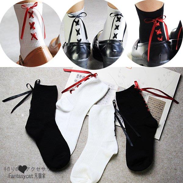 襪子 凡貓家 日本原單綁帶蝴蝶結中筒襪少女學生系帶純棉襪子