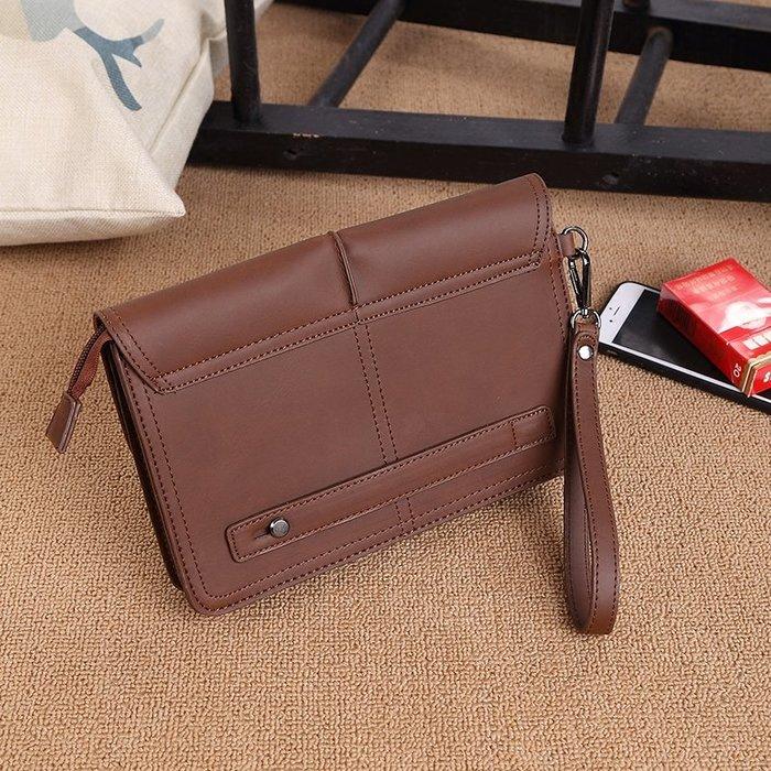 [包妳喜歡]復古瘋馬皮男士手拿包 日系做舊大容量手工手包原創韓版新款定型008