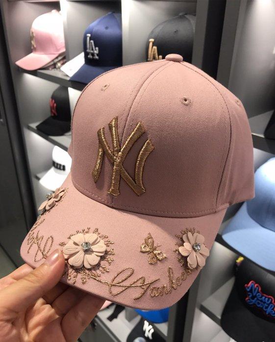 MLB 紐約洋基隊 棒球帽 粉色立體小花  現貨!!