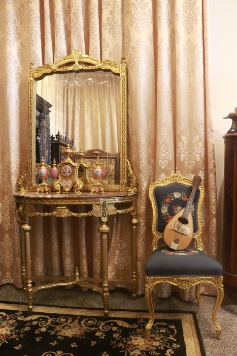 【家與收藏】賠售特價極品稀有珍藏歐洲古董法國凡爾賽華麗巴洛克手工雕花大理石大玄關桌鏡6