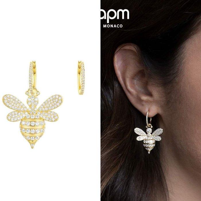 Melia 米莉亞代購 商城特價 數量有限 每日更新 APM MONACO 飾品 耳環 不對稱 金黃色銀鑲晶鑽蜜蜂耳環