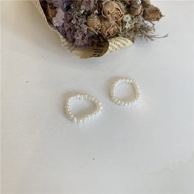 13C~Sunup_Q 韓國東大門  ins風 天然淡水珍珠戒指指環 有彈力0420