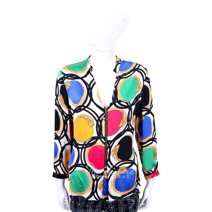 米蘭廣場 CLASS roberto cavalli 幾何印花拉鍊細節絲質襯衫 1710654-20