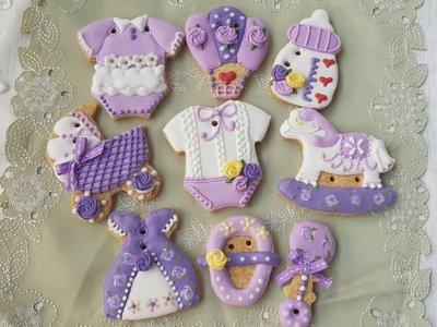 小柚子工作坊~高貴粉紫12片收涎餅乾/糖霜餅乾/婚禮小物