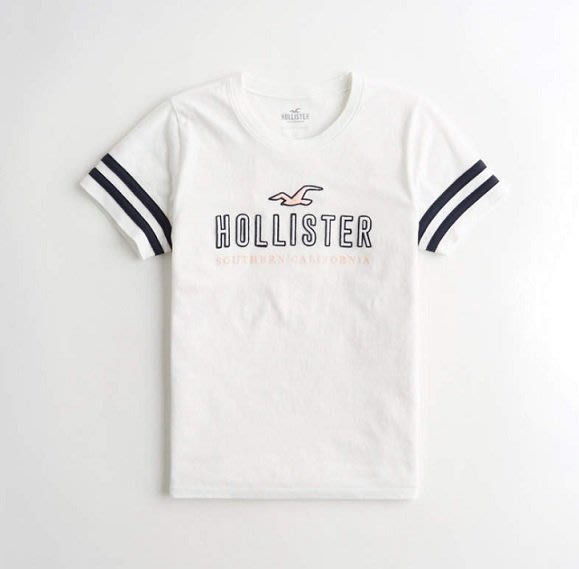 HCO Hollister 海鷗 車繡 logo 短袖 短T 女生 白色