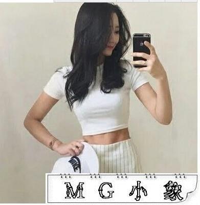 韓版白色短款短袖t恤緊身  短版上衣