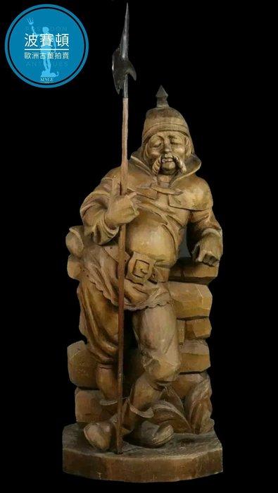 【波賽頓-歐洲古董拍賣】歐洲/西洋古董 西班牙古董 19世紀 大型手工木雕 唐吉訶德的僕人(高度65cm)(年分:1950-1969年)
