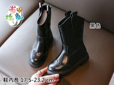 {布拉魚}女童靴子秋冬季女大童公主中筒靴2020新款加絨馬丁靴兒童鞋子皮靴 17.5-23.2 cm