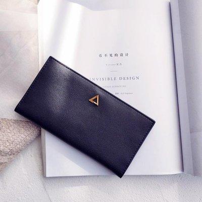 ins超薄款牛皮長款錢包女2018新款韓版簡約時尚柔軟對折搭扣錢夾