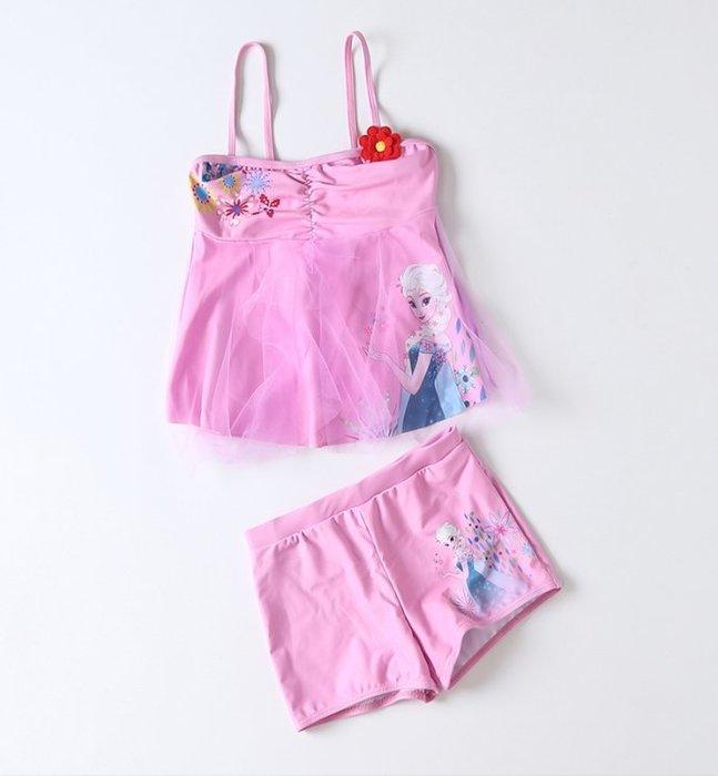 •*~ 辣媽咪衣飾小舖 ~*•❤泳裝系列 📣C550816韓版卡通艾沙圖案分體防曬溫泉泳裝 (附泳帽)